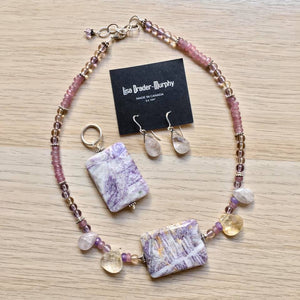 Artisan Jewelry - Lavender Stone and Sterling Silver Necklace, Earrings and Pendant