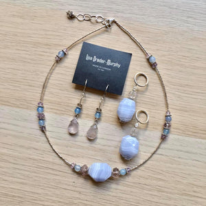 Artisan Jewelry - Periwinkle Stones Necklace, Pendant and Earrings