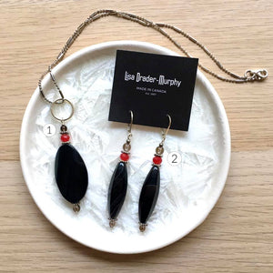 Artisan Jewelry - Black and Red Precious Gems Necklace and Earrings