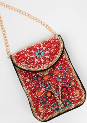 Beaded Mini-bag -- CORAL
