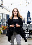 Faux Fur Draped Vest -- BLACK