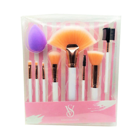 VS SARAHBEAUTY MAKEUP BRUSH SET - 8 PIECES WITH PUFF SPONGE
