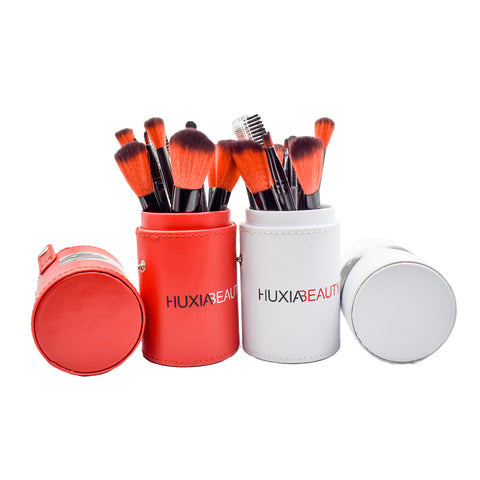 HUXIA BEAUTY ROUND MAKEUP BRUSH KIT - 12 PIECE KIT