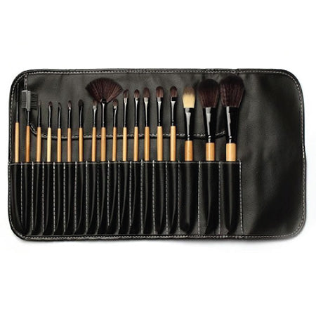 BOBBI BROWN BRUSHES 18 PIECE SET WITH LEATHER POUCH