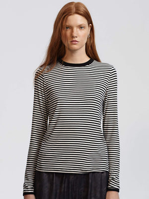 Edie Rib Long Sleeve, Black/Off White