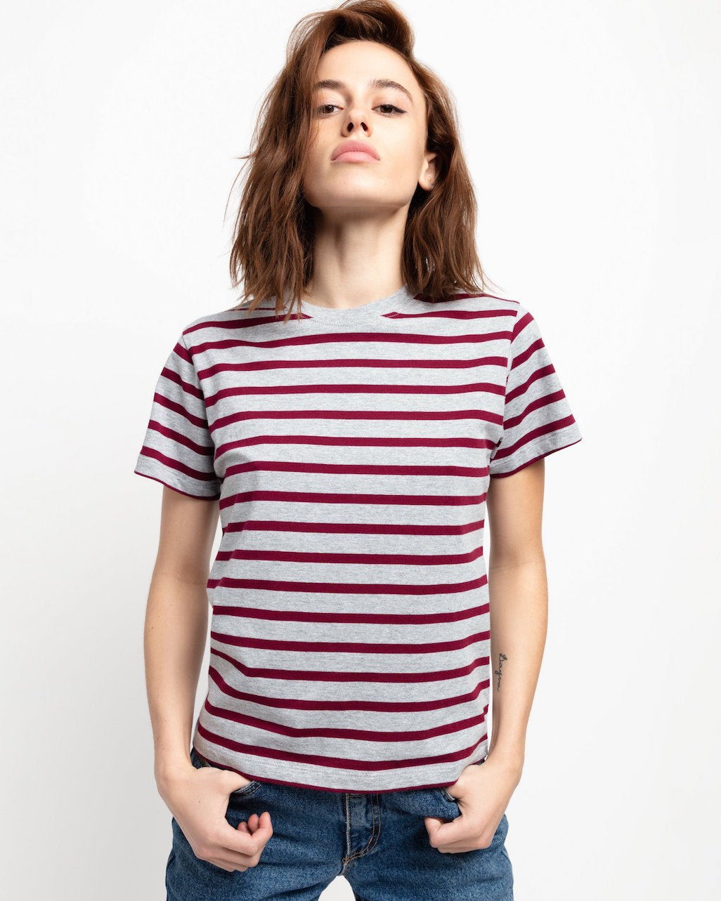 x karla The Crew, Grey/Burgundy Stripe