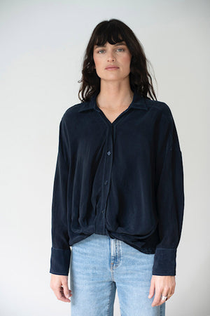 Cupro Front Twist Shirt, NAVY