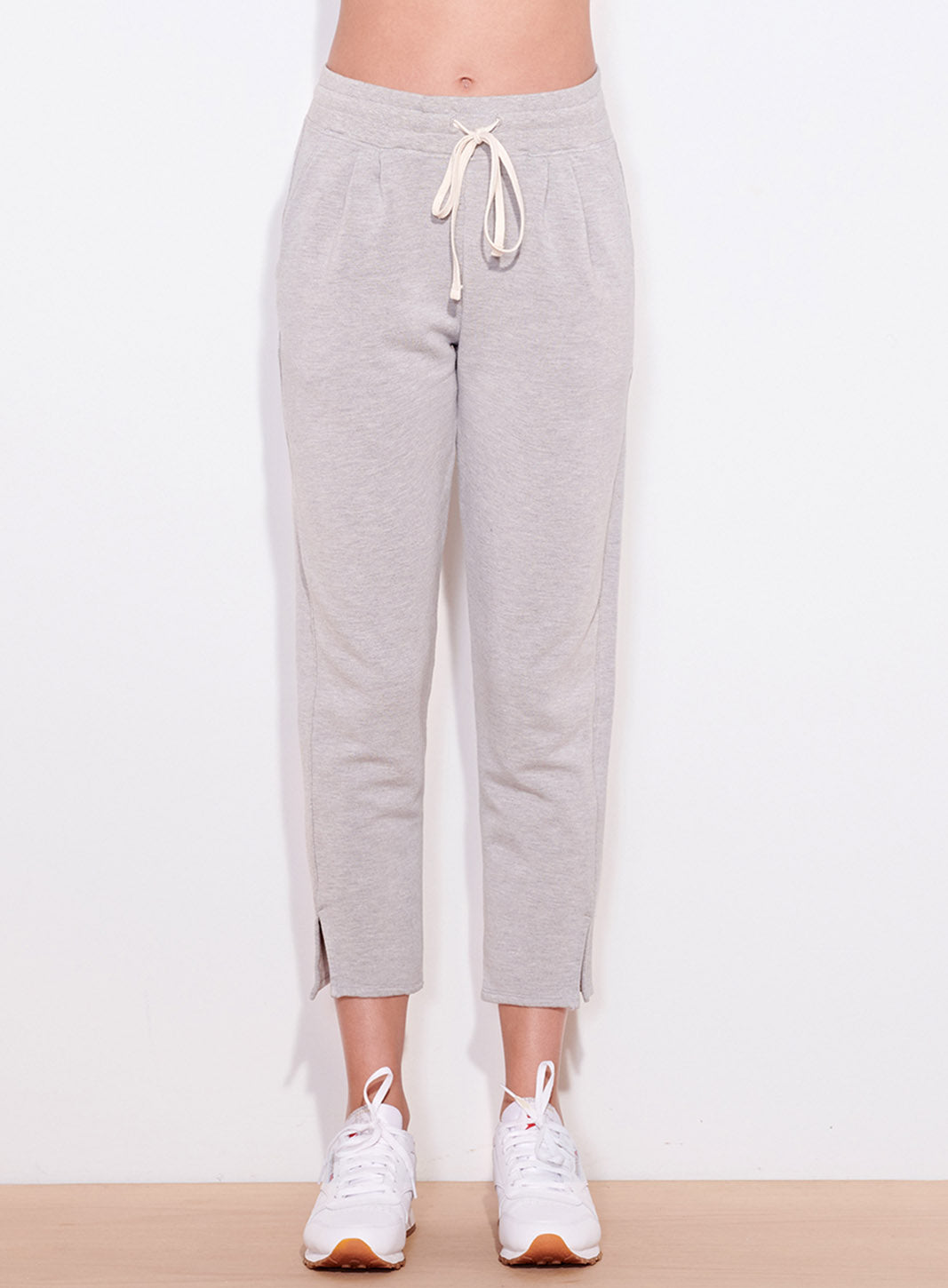 Pleated Trouser Sweatpant, Heather Grey