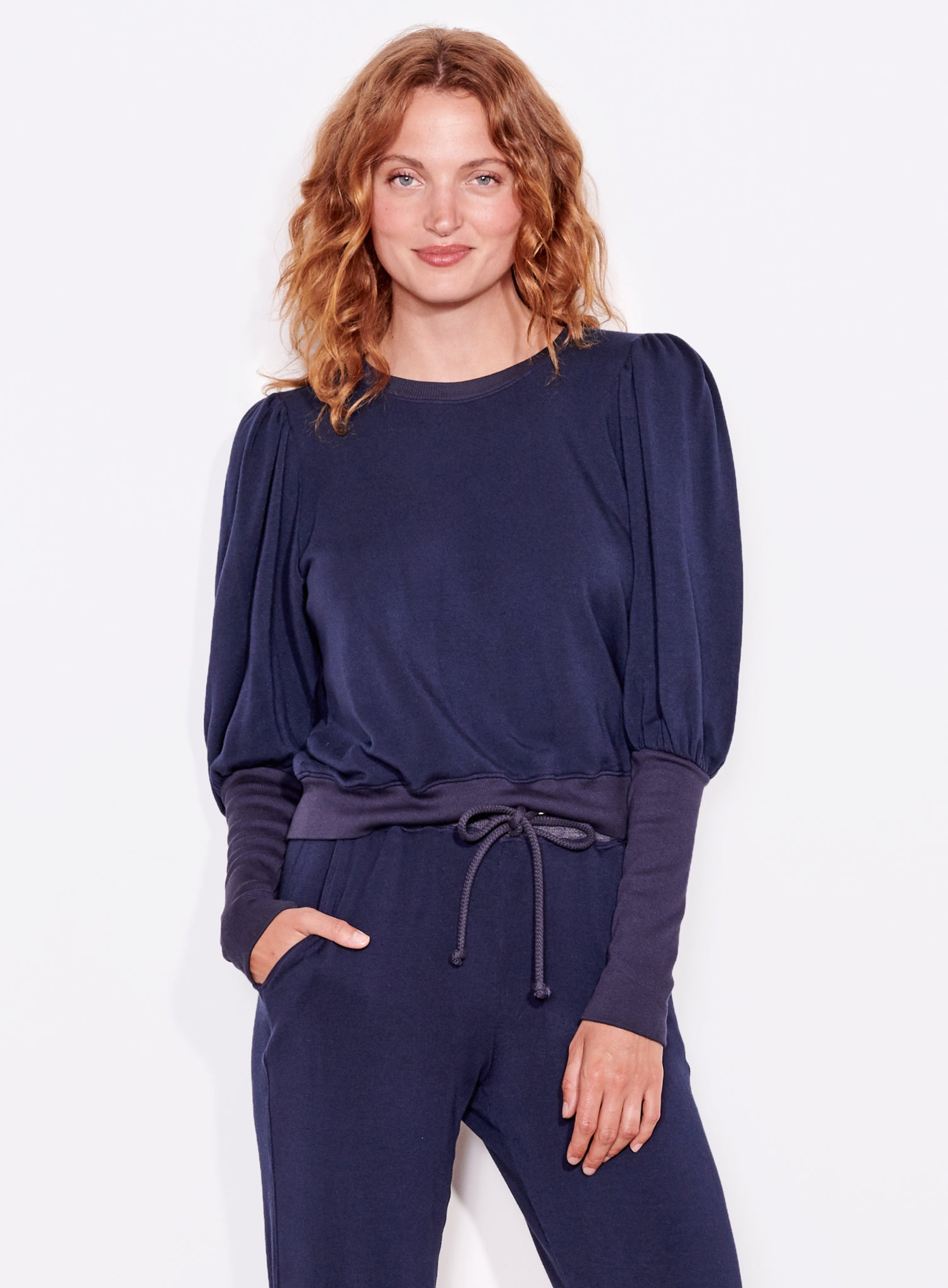 Puff Shoulder Sweatshirt, Navy