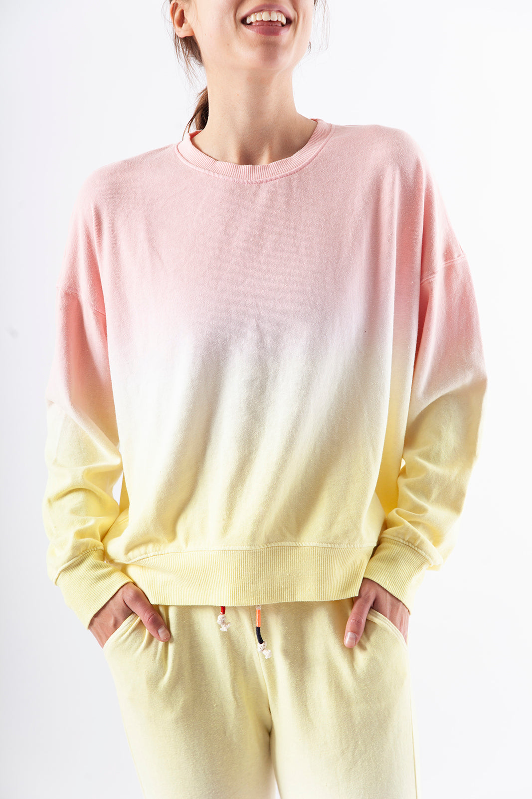 Fleece Sweatshirt, BANANA/PETAL Dipdye