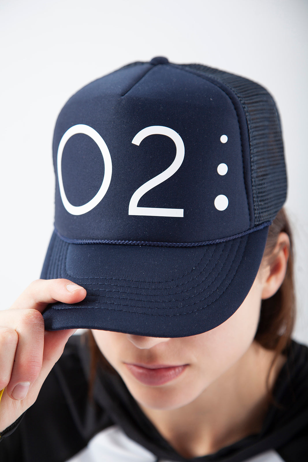 O2 Trucker Hat, Navy with white