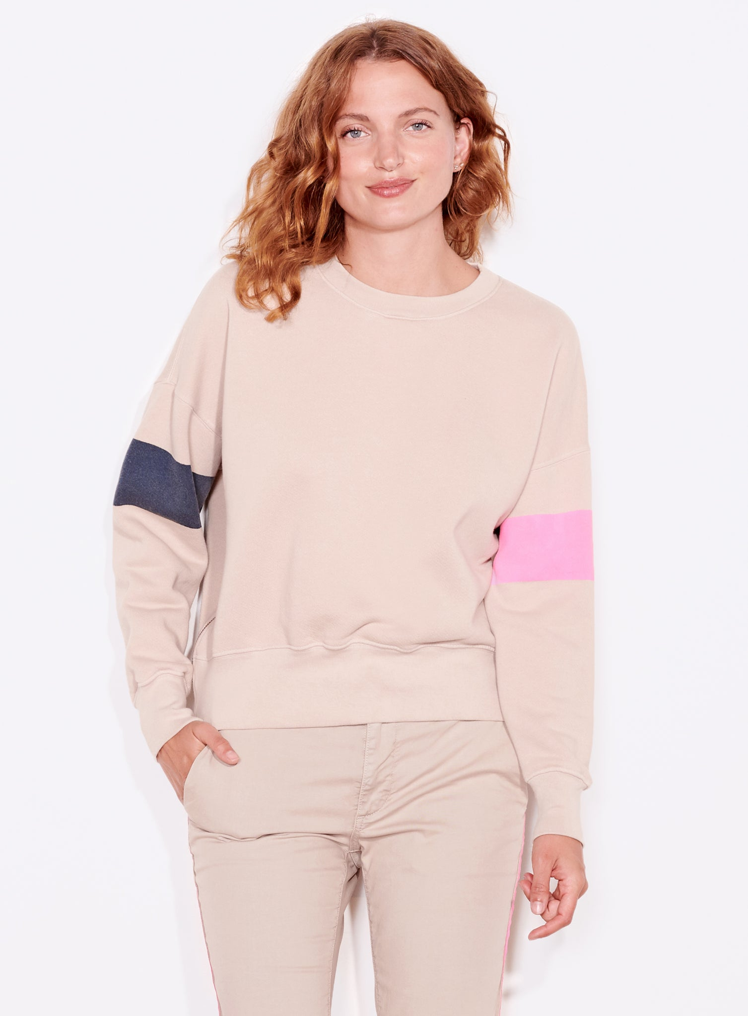 Arm Stripe Zip Sweatshirt, Sand