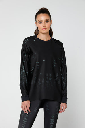 Muscari Capella Top, FOREST PRINT/PATENT NERO