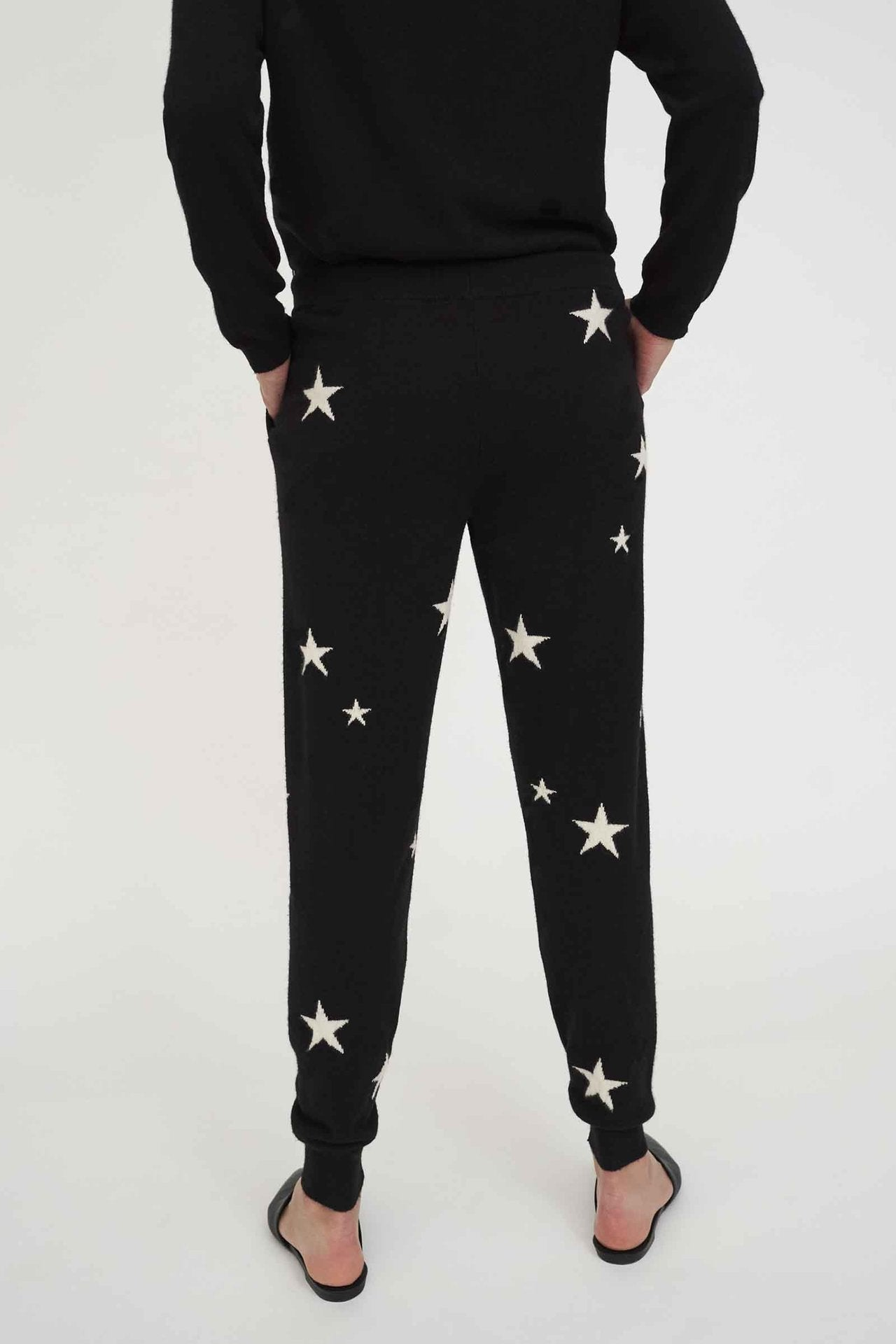Star Cashmere Track Pants, BLACK/CREAM
