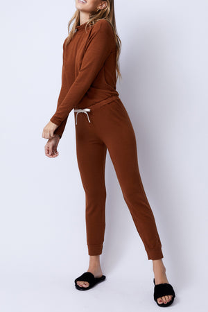 Supersoft Cowl Cuff Jumpsuit, Caramel