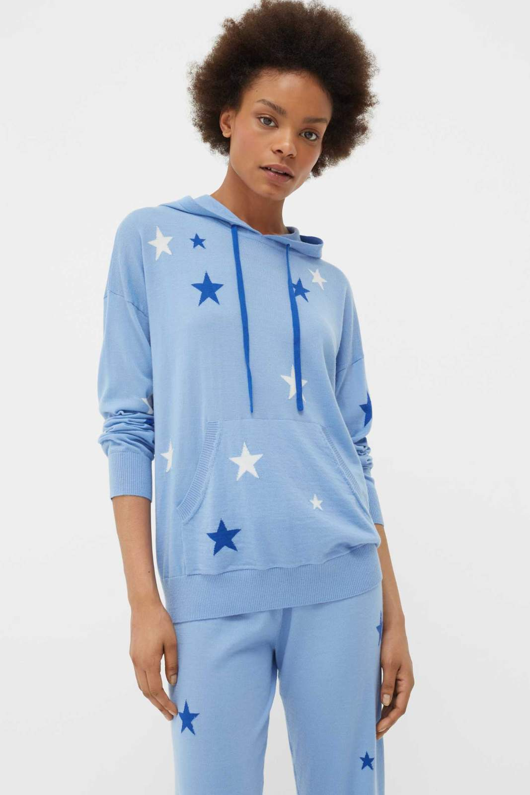 Chinti & Parker Cashmere Lounge Hoodie , SKY BLUE/CREAM/