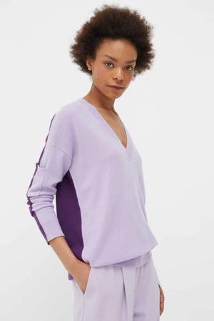 Chinti & Parker Two Tone Cashmere V Neck Sweater