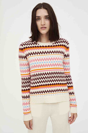 Fair Isle Contrast Sleeve , Cream/Multi