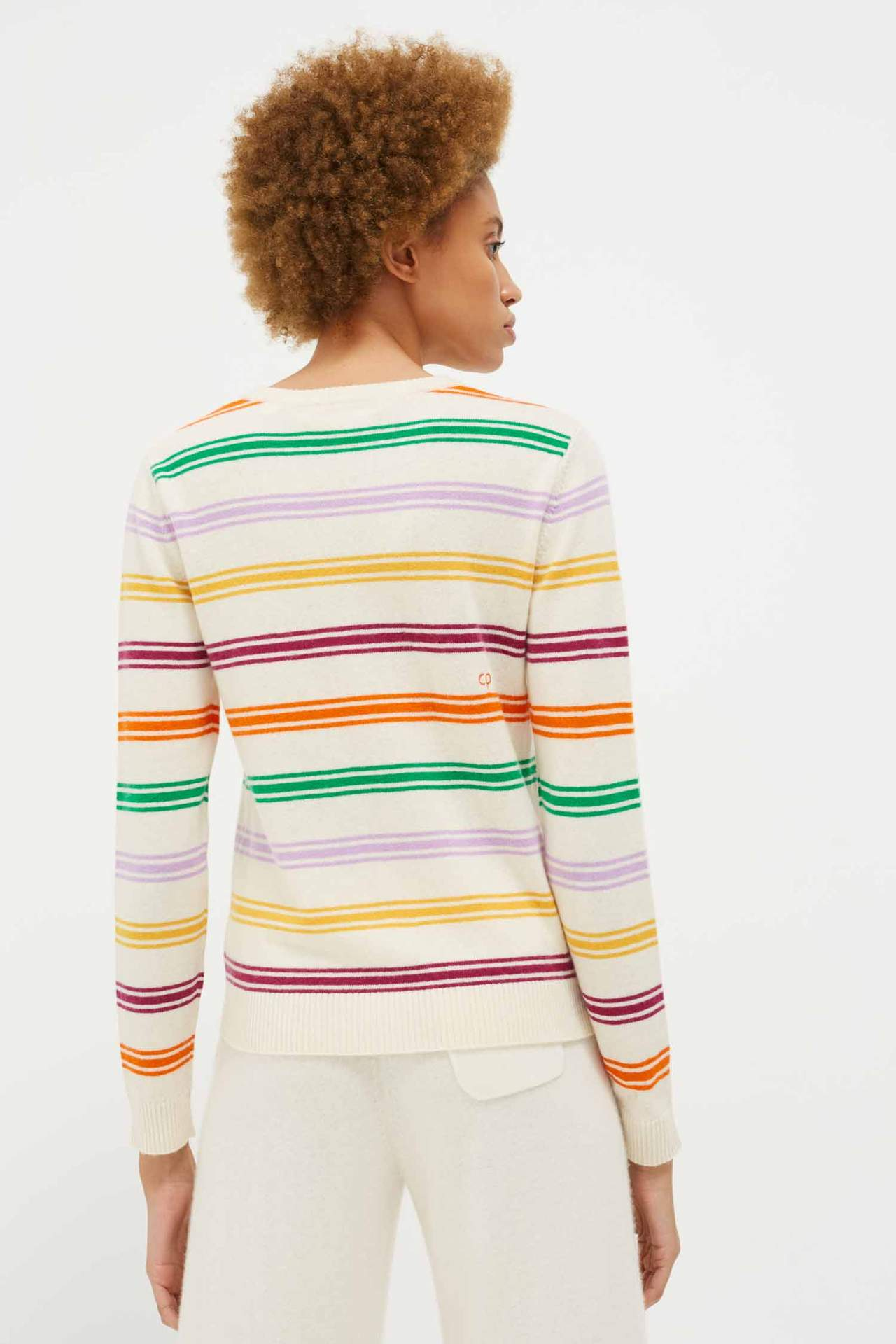 Multi Striped Sweater, Cream/Multi