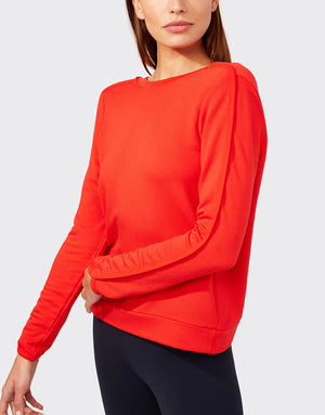 Reese Fleece Crop, Red