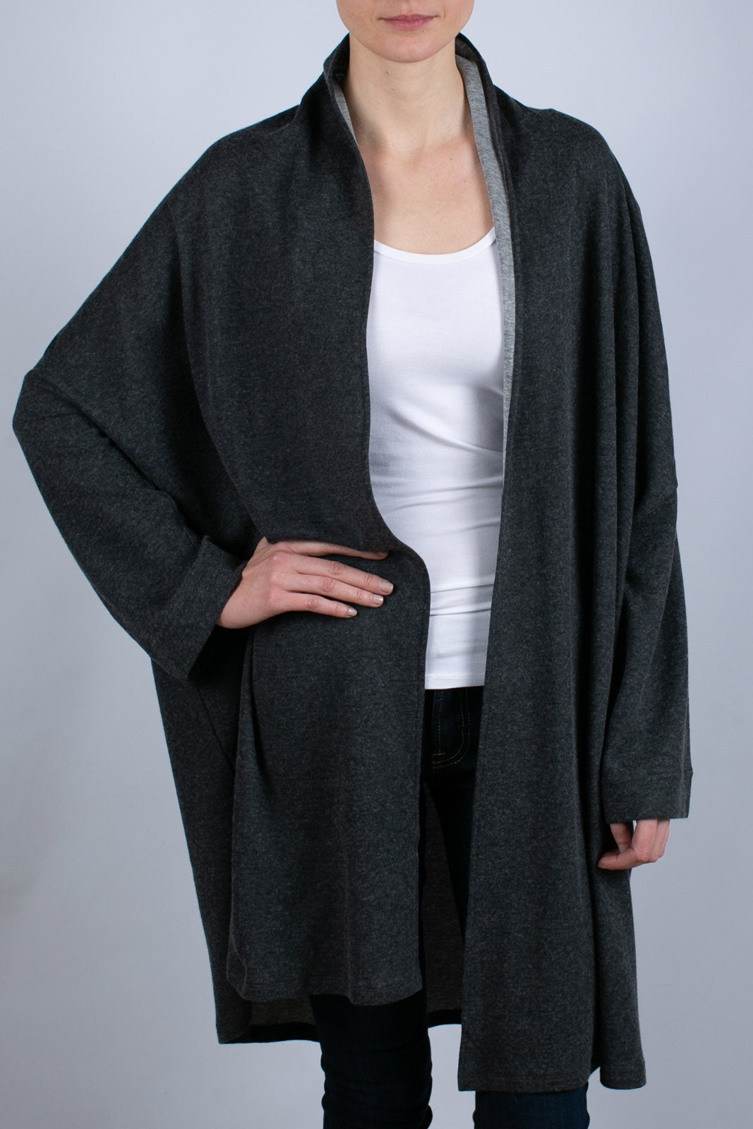 COTTON/CASHMERE OVERSIZED CARDIGAN, Anthracite