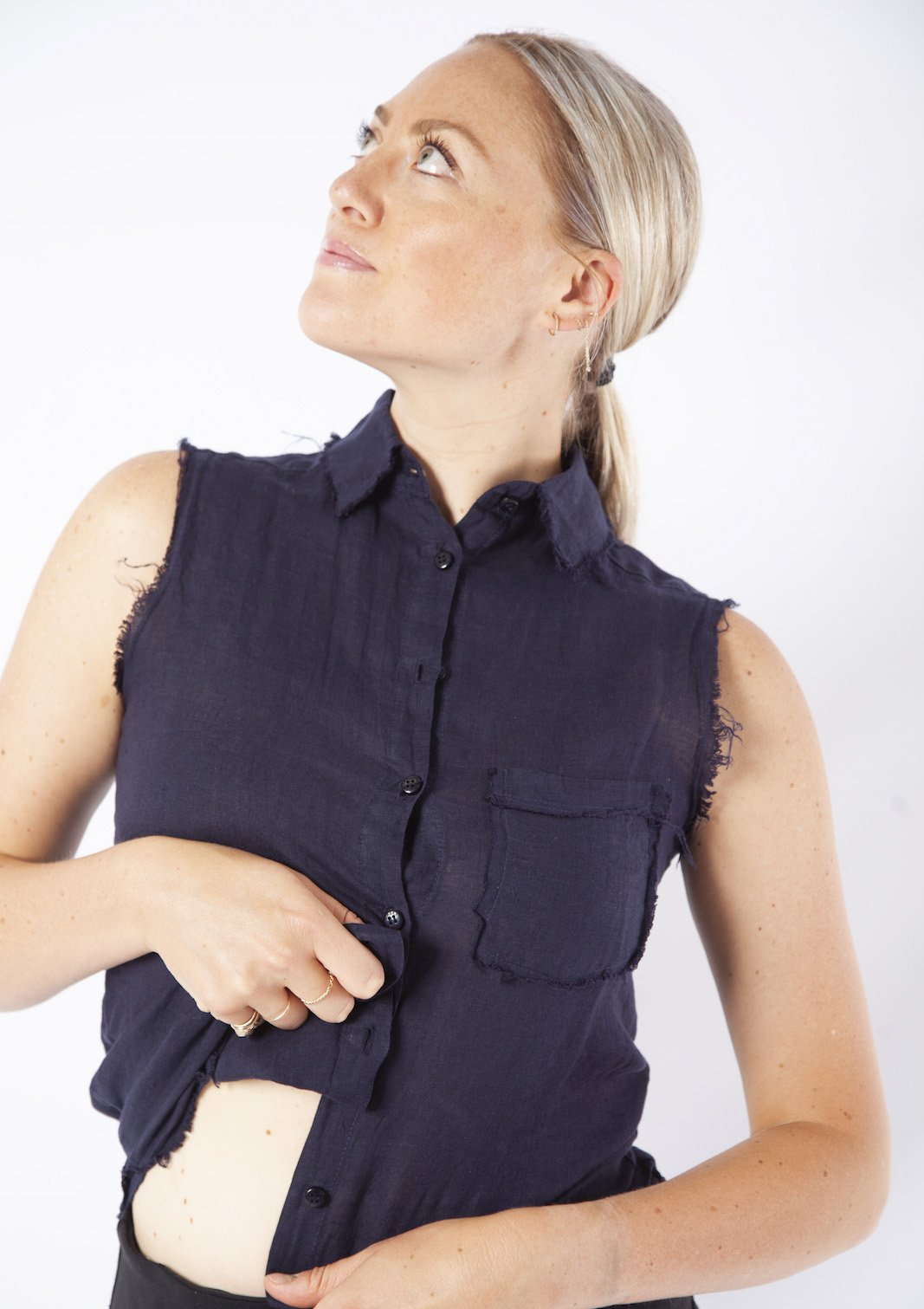 Stark X Sleeveless Button Shirt NAVY