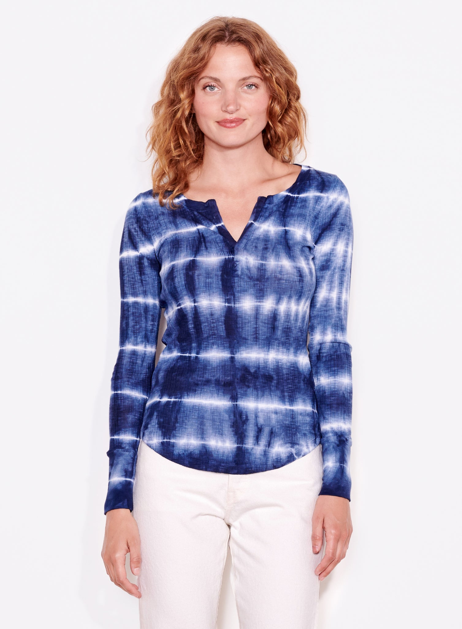 Fitted Henley, Navy/White Tie Dye