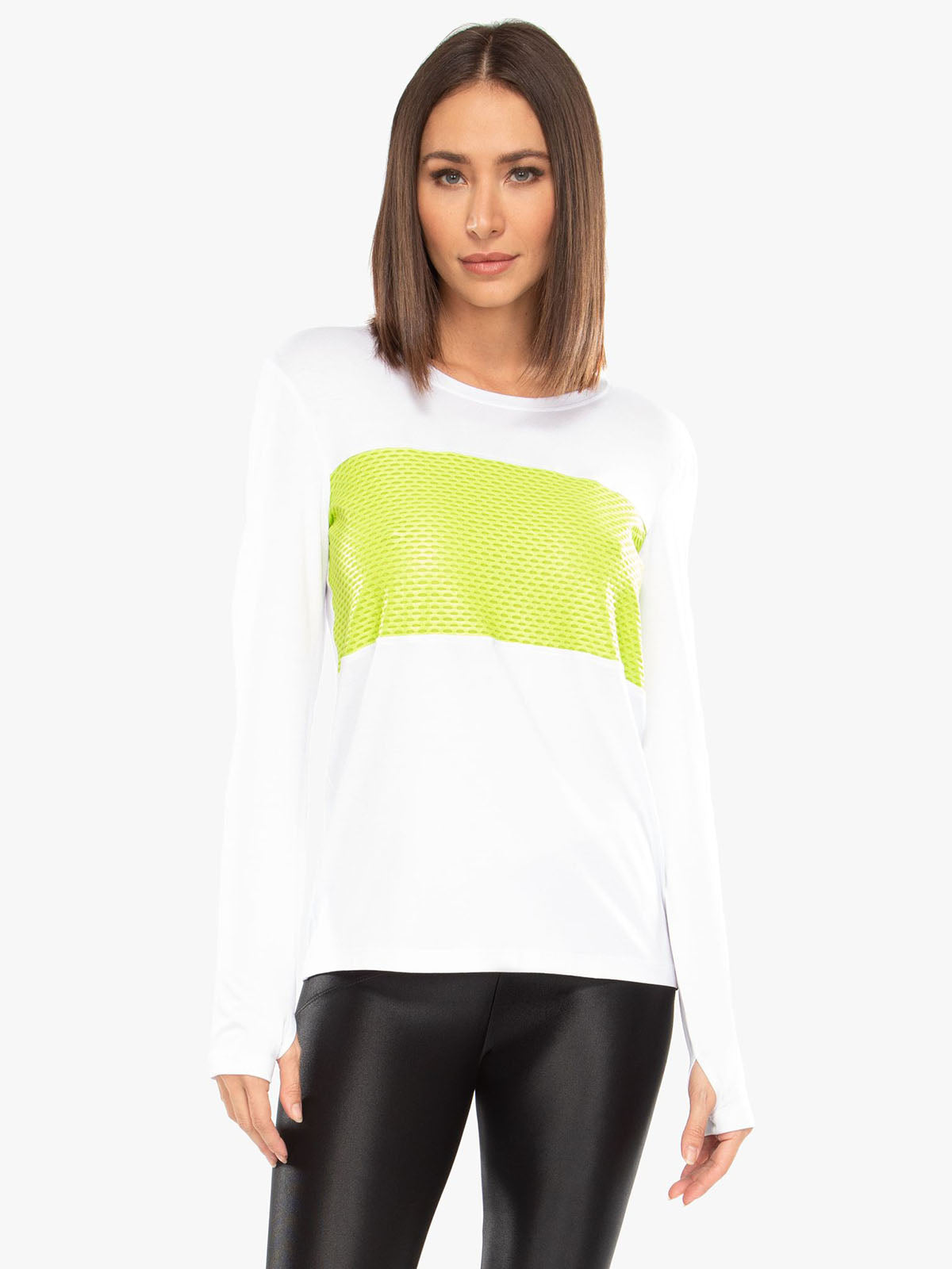 KORAL COLOR BLOCK BRISA TOP , WHITE/NEON LIME