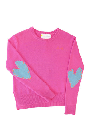 Patchwork Love Cashmere Sweater , Pop Pink + Dusty Blue