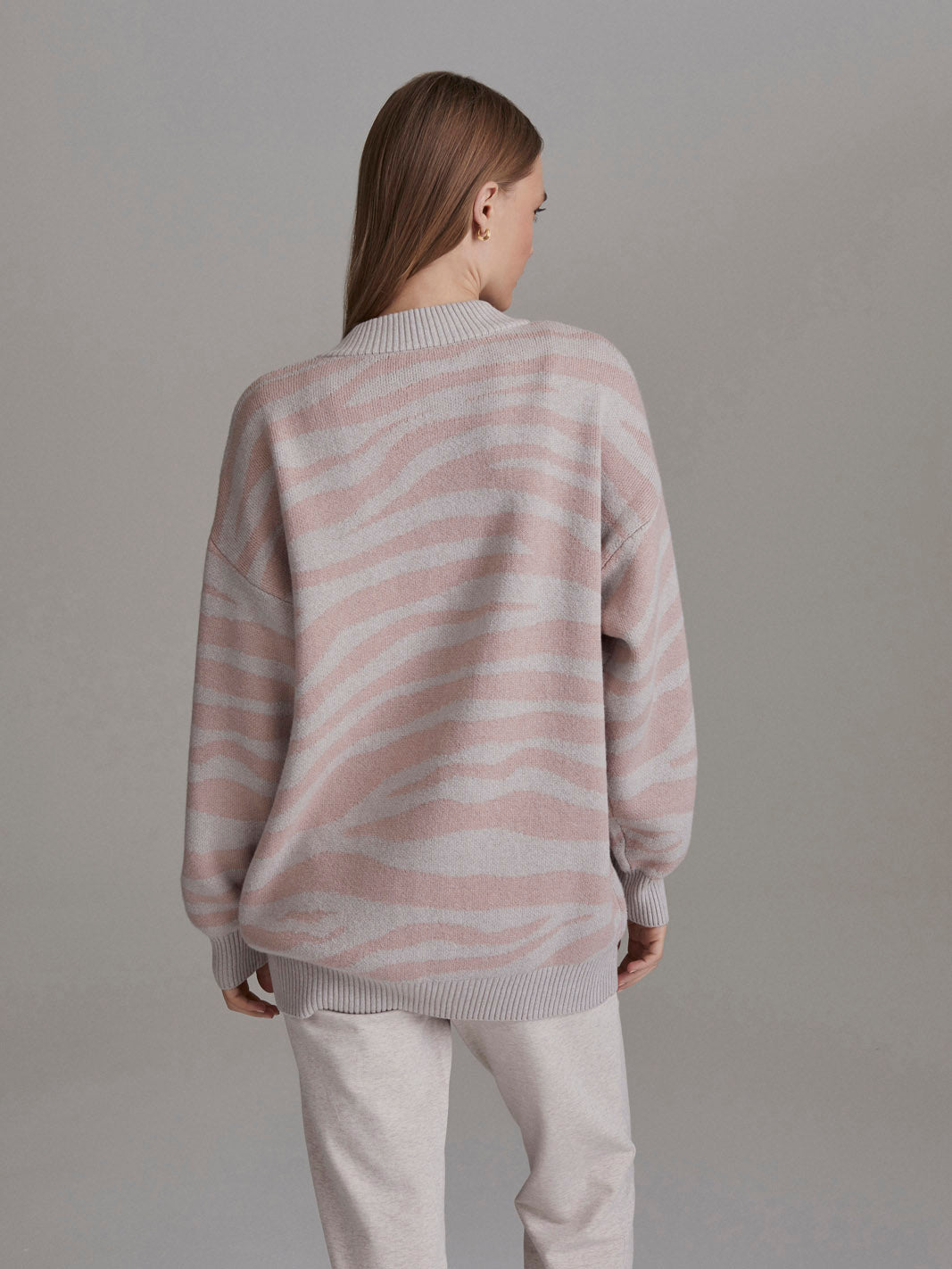Mayberry Sweater, pale blush cobweb zebra