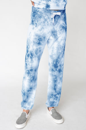 Viscose Fleece Marble Dye Drawstring Sweatpant, Clear Water