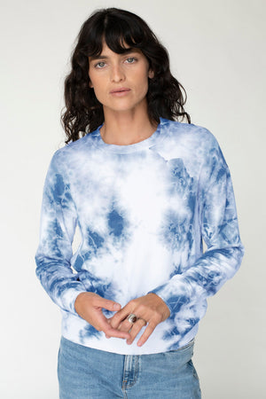 Viscose Fleece Marble Dye Pullover, Clear Water