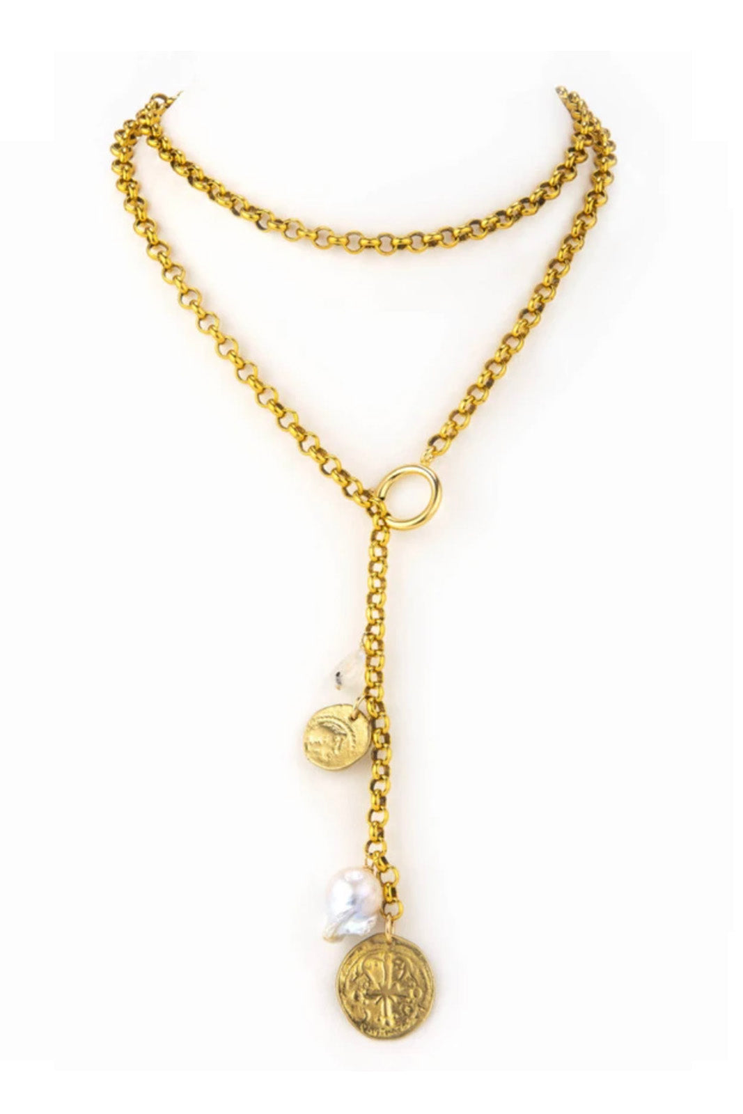 Taylor and Tessier Charmed Pearl Necklace