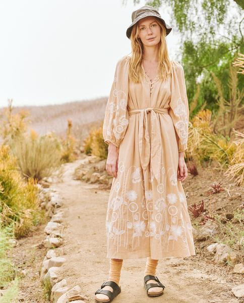 The Derby Dress W/ Trellis Floral Embroidery, Wheat