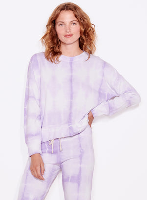 Terry Oversized Sweatshirt, Lilac/White Tie Dye