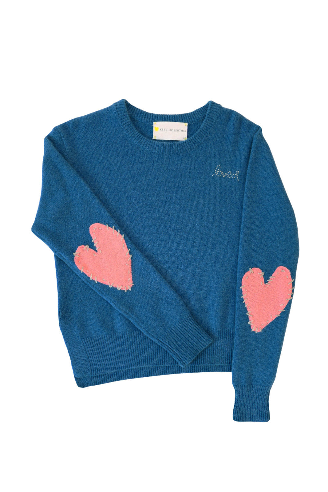 Patchwork Love Cashmere Sweater , Cali Blue + Dusty Pink
