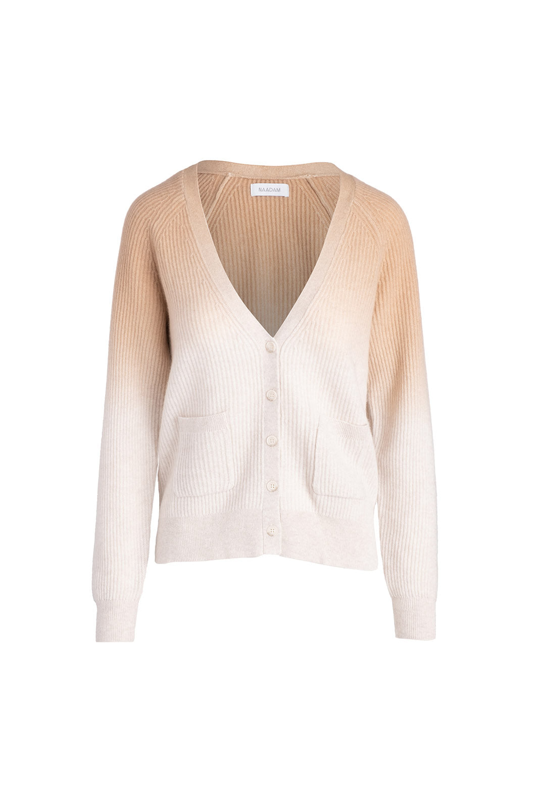 Ombre Ribbed Cardigan, Camel Combo