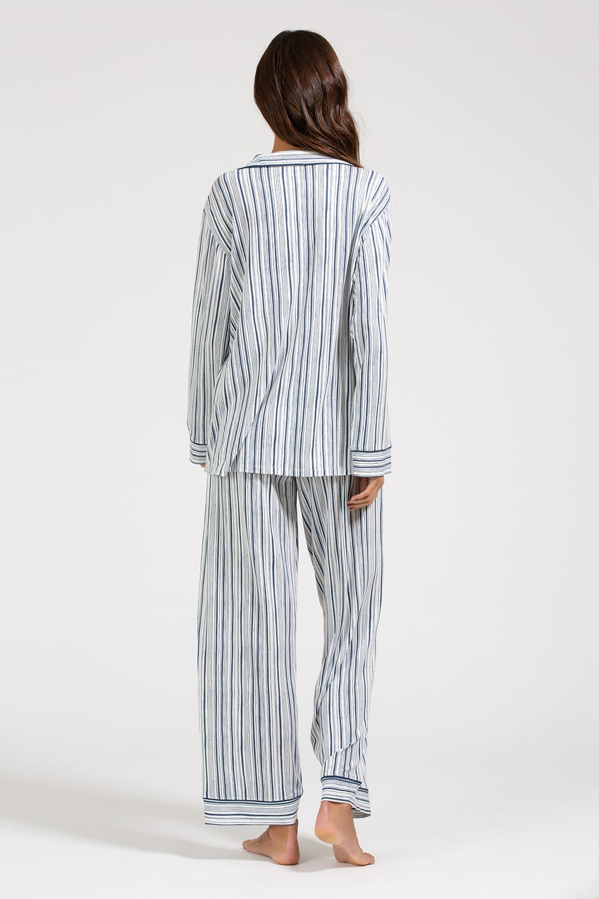 Gisele - The Long PJ Set, Off White/Indigo Blue
