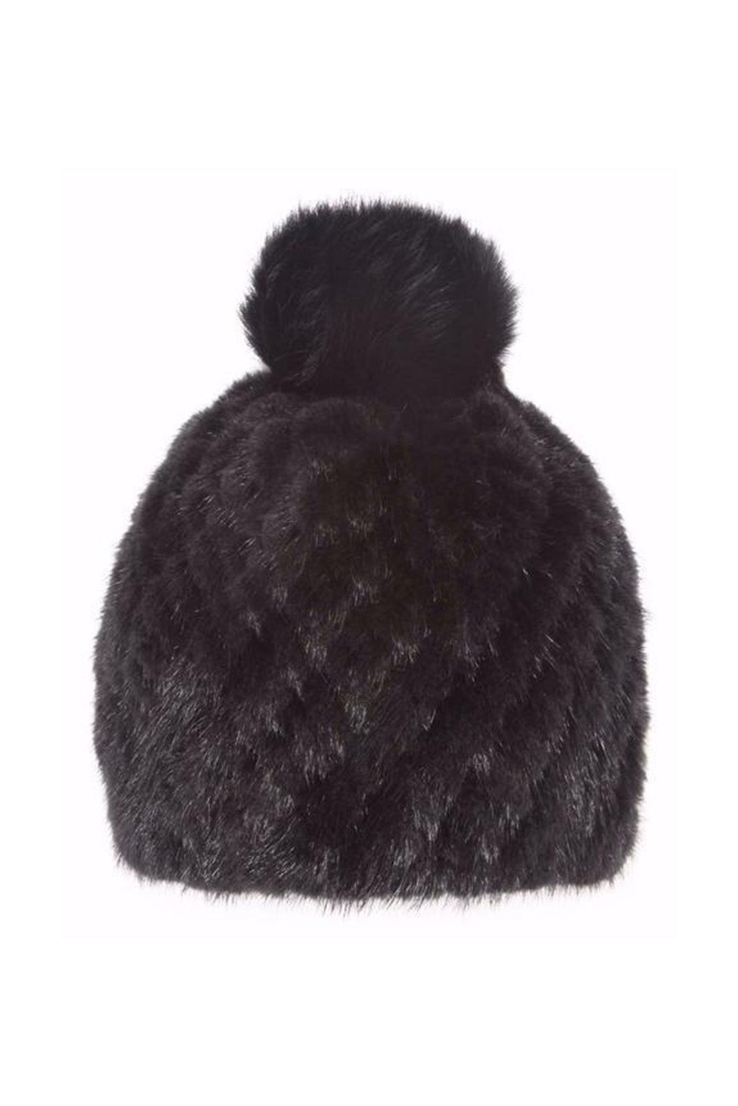Rex Rabbit Hat W/ Fox PomPom, Black