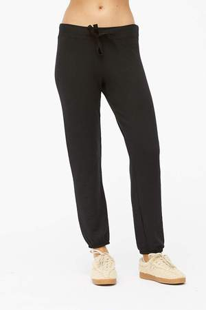 Viscose Fleece Drawstring Sweatpant, Black
