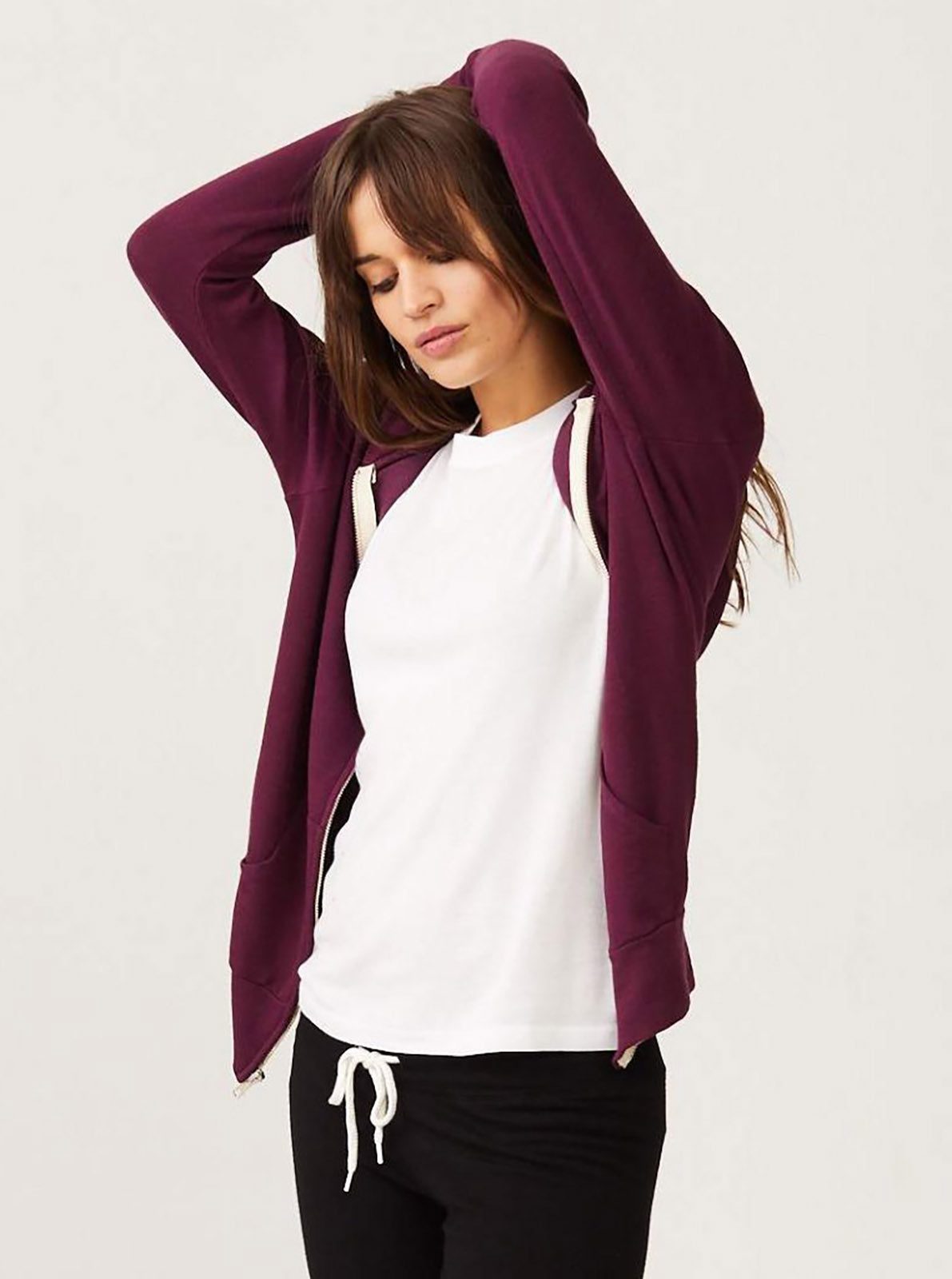 Monrow Supersoft Zip Up Hoody, Merlot