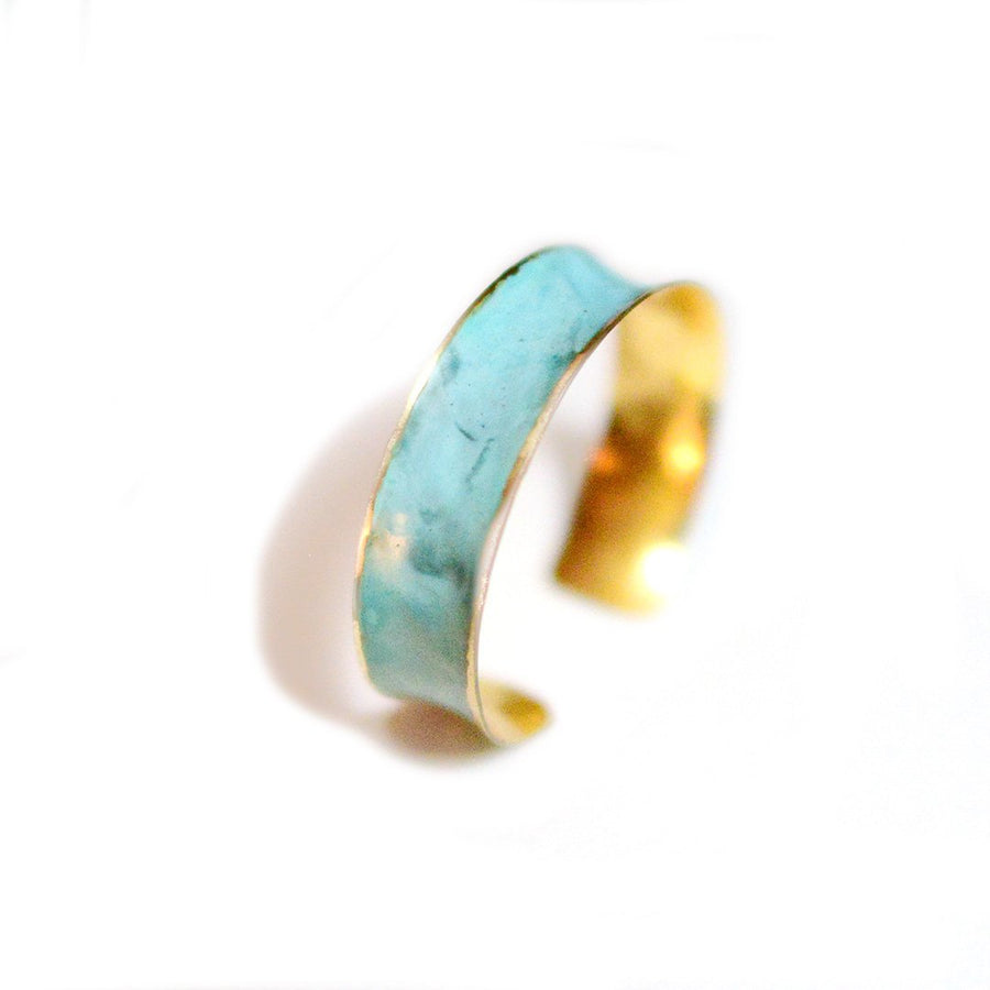 Patina Hammered Brass Cuff