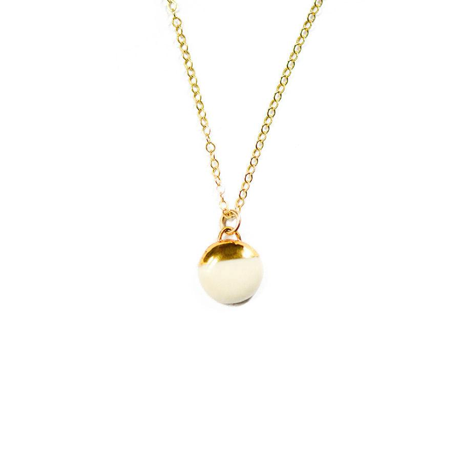 White Dipped Buoy Necklace