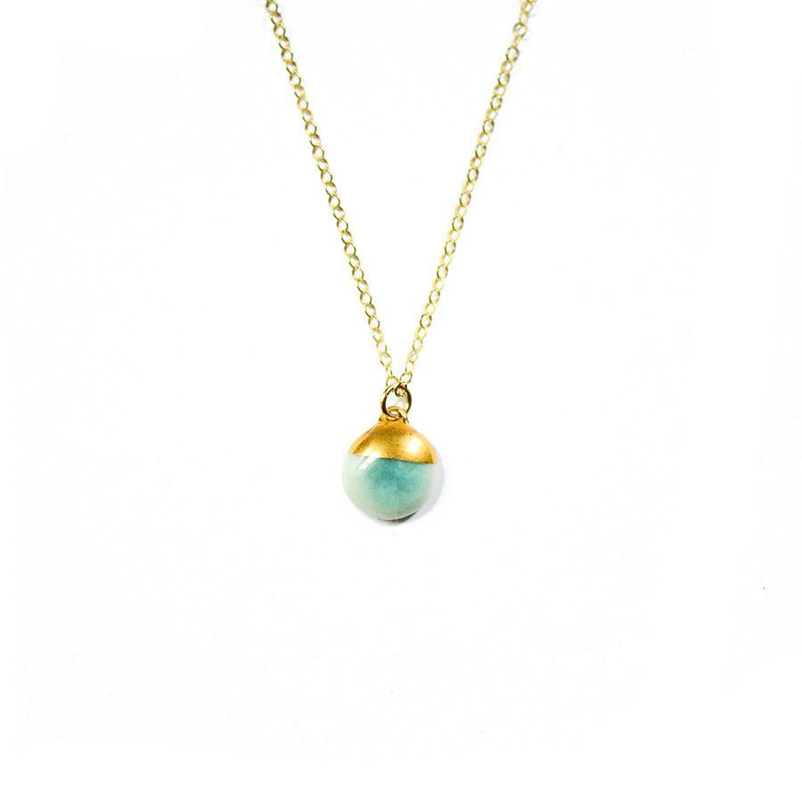 Aqua Dipped Buoy Necklace