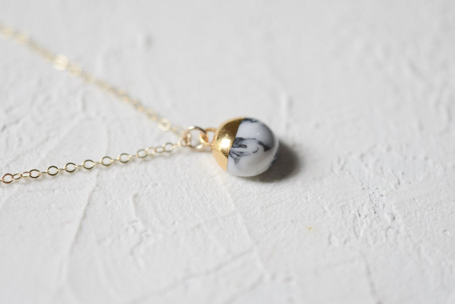 Marbled Dipped Buoy Necklace