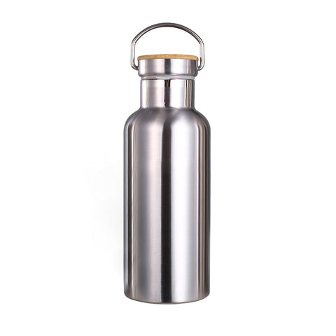 gourde isotherme thermos 500 ml inox bambou acier inoxydable