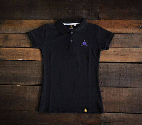 Women's Polo Shirt (Black/Purple Logo)