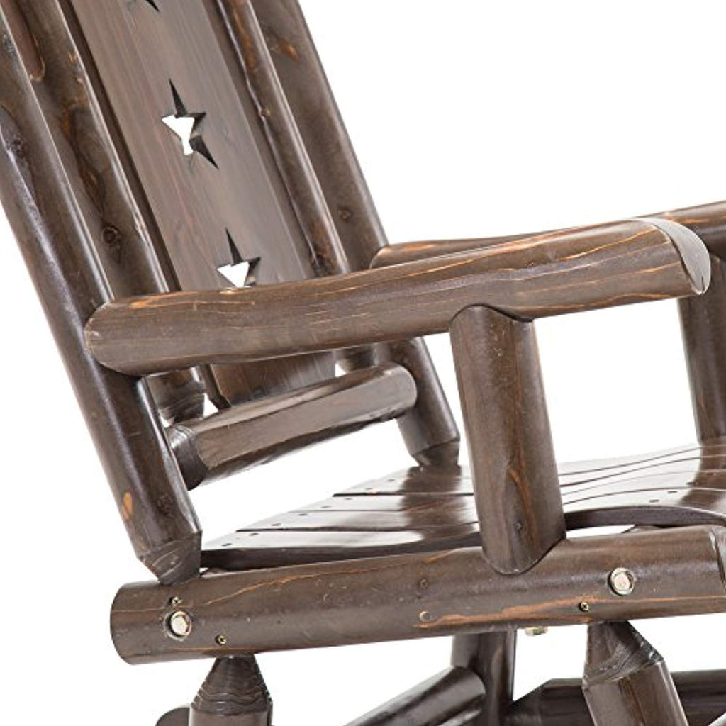Wood Outdoor Rocking Chair Rustic Porch Rocker Heavy Duty Log Chair