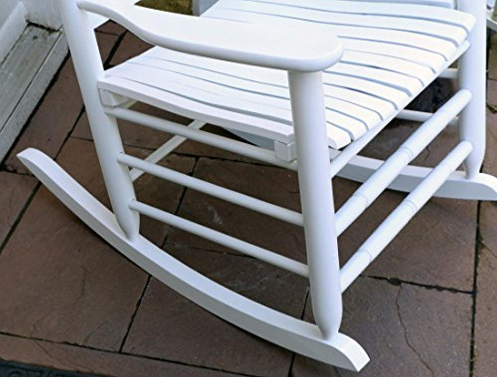 Oliver And Smith Heavy Duty Wooden White Patio Porch Rocker Chair