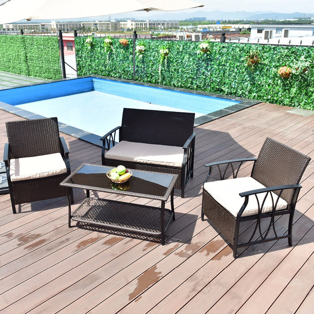 4 Pc Patio Furniture Sectional Table Sofa Chairs Set With Cushions